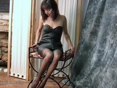 Witness hot Mom i`d like to fuck strips off soft black leather outfit to find sexy thong nylons corset high heels