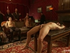 Lewd gay Jake Austin gets his ass destroyed in a group BDSM scene