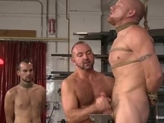 Bald fag gets his ass fisted and fucked in BDSM video