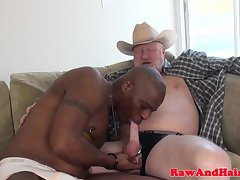 Black hunk rides silver wolfs cock raw