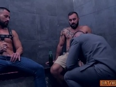 Muscle gay threesome with cumshot