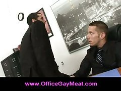 Gay guy seduces his boss to keep his job in the company