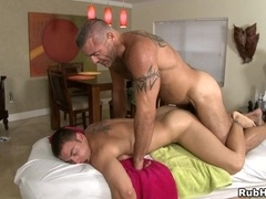 Calvin Coons gets his body oiled and makes gay love with masseur