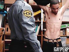 Skinny black thief bareback screwed by horny officer