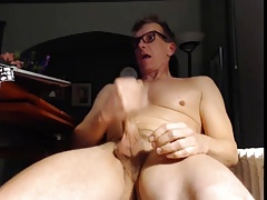 cute military dad stroking his cock