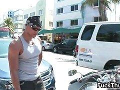 Hot Biker Picks Up White Gay Outdoor