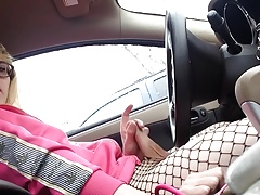 Cute Sissy Cums In The Car
