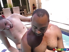Slim white guy makes love with a huge cocked black man