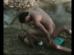 Two dudes have sex in the forest