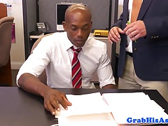 Black office stud pounded in toilet at work