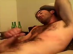 Hairy cowboy jerking off