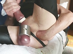 fucking my ass deep with long toys and self fist.