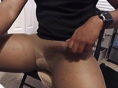 Stroking my cock and cumming in pantyhose and a black shirt