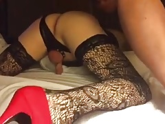 TRANNY WRECKED TO TEARS HOTEL HUGE CUM SHOT AMATEUR