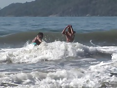 Atractive Latino couple fuck each other on some rocks by the sea