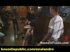 A Blond Guy Public Gangbanged in a Bar