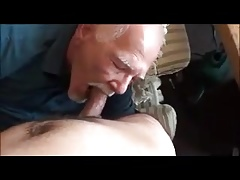 Old grandpa's rhythm sucks the other man's dick