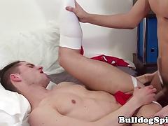 UK jockstrap lads analfucking in dormroom