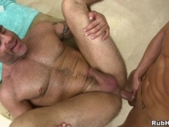 Horny gay daddy gives a massage and gets his butt ripped apart
