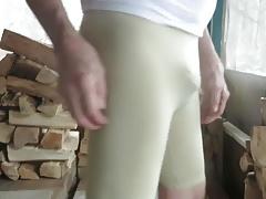 Horny male bitch in skin-tight spandex.