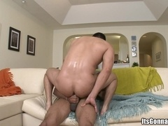 Alexander Garrett moans loudly while having sex with a black gay hunk