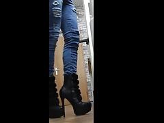 lustobjekt86 trans fucked by dildo highheels walking