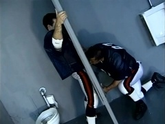 Two muscular rugby players make gay love in the shower