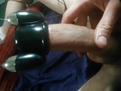 Uncut cock cums with trinity vibes cock head vibrator