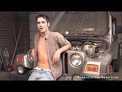 Solo masturbating in the garage