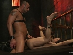 Gay bitch Adam Russo gets fucked by CJ Madison in a jail