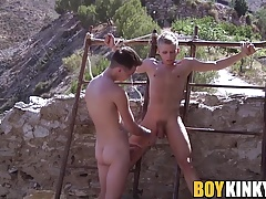 Nasty twinks have freaky bondage sex and they both like it