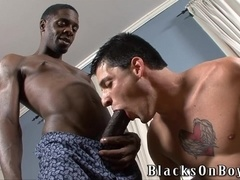 Nikola Jovovich gets his mouth and ass fucked by two black gay hunks