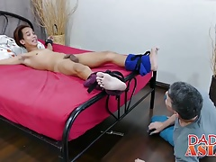 Young twink Asian rams his hard dick in that white asshole