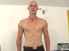 Bald gay Roza blows and gets his butt drilled in missionary position