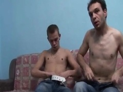 Two skinny dudes have an amazing gay sex on a sofa