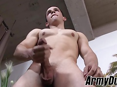 Wild army recruit jerks off his rock hard manhood and cums