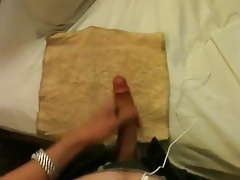 Master blaster - huge cumshot on his well used cum towel