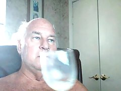 Old Fart Playing With Cum From Condom