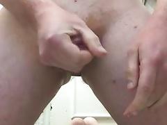 Wank in bathroom with butt plug