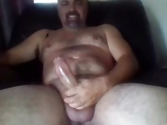 Sexy bear edging his big cock