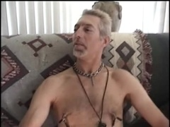 Sizzling gay daddy rubs his boner and gives a blowjob to some guy