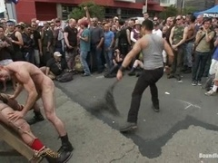 Jason Miller gets tortured, whipped and fucked in the street