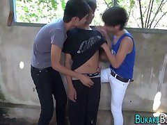 Asian twink jizzes hard
