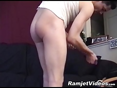 Horny short haired fucker thrusts a dildo in his tight ass
