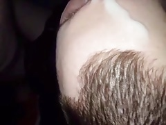 He get his face covered with creamy cum
