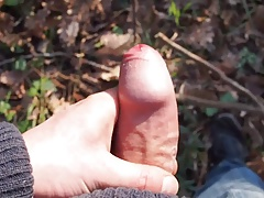 A quick cum outdoors, in the woods.