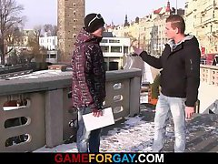 He lures street promoter into gay game