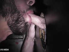 Shane Andrews gloryhole slut swallows every load