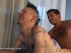 A tattooed punk gives a rimjob and gets his ass drilled
