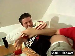 Skater hunk getting his bare ass slapped hard